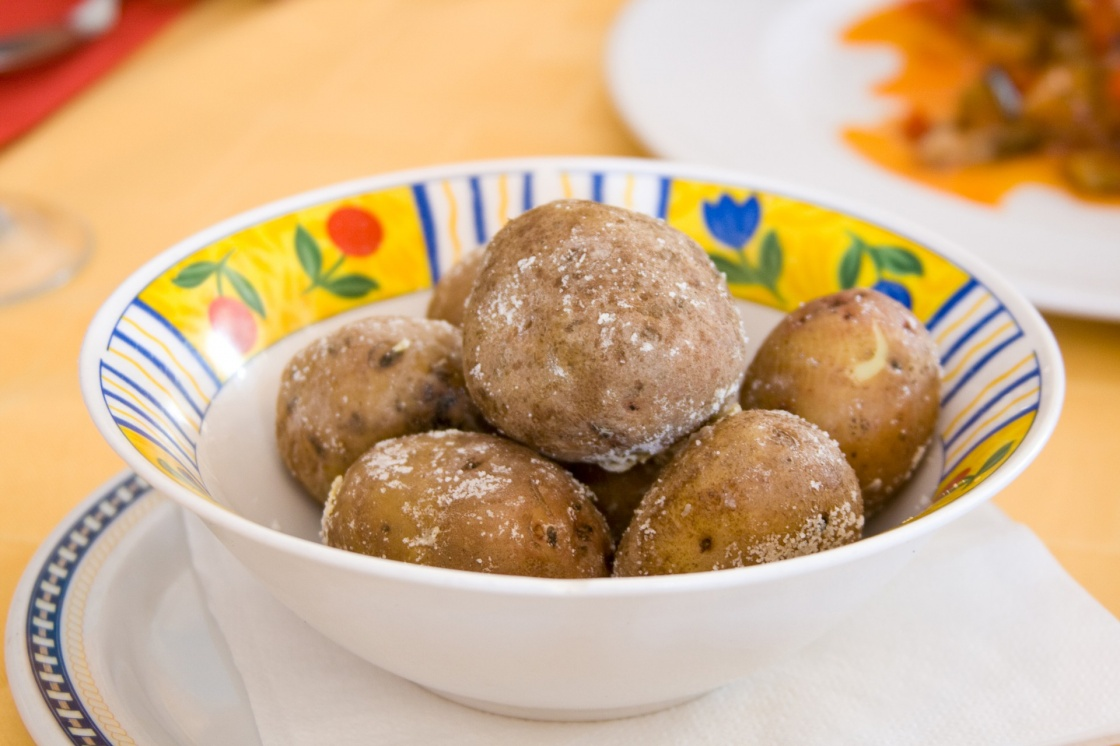 Traditional Tenerife food: papas arrugadas. Canarian wrinkly potatoes are usually served with a pepper sauce, called Mojo.